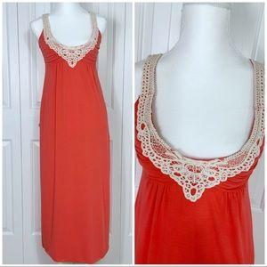 GUESS Deep Coral Crochet Detail Maxi Dress XS
